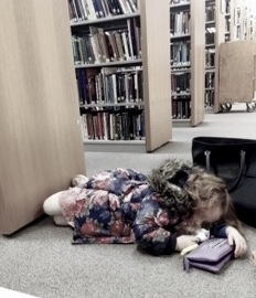 Child sleeps in library